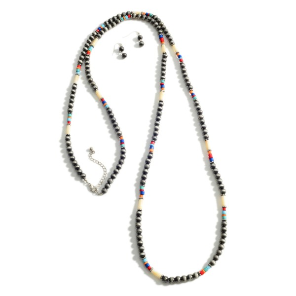 "Long Beaded Necklace Featuring Multi-Color Accents.   - Approximately 60"" Long - Adjustable 3"" Extender"