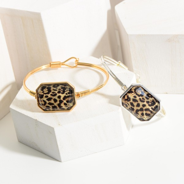 """Metal Bracelet Featuring Leopard Print Accent and Hook Closure.   - Approximately 3"""" in Diameter"""