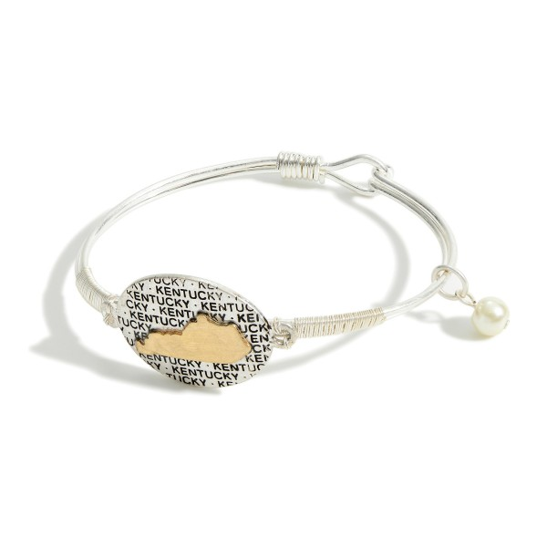 "Metal Bracelet Featuring Faux Pearl Accent and Two-Tone Kentucky Pride Pendant.   - Approximately 3"" in Diameter"