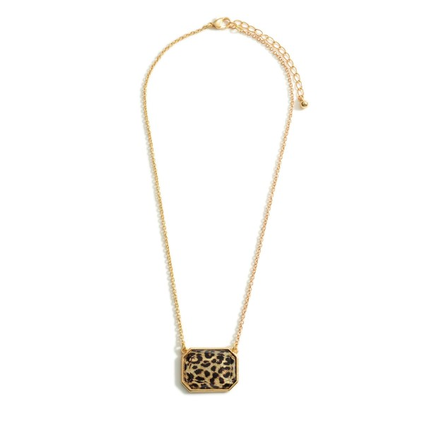 "Short Gold Necklace Featuring Leopard Print Pendant.   - Approximately 18"" Long"