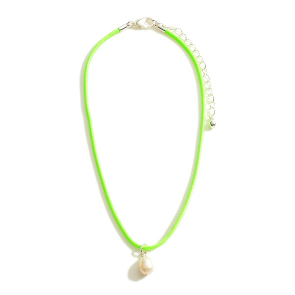 """Cord Necklace Featuring Faux Pearl Pendant.   - Approximately 13"""" Long - 3"""" Extender"""
