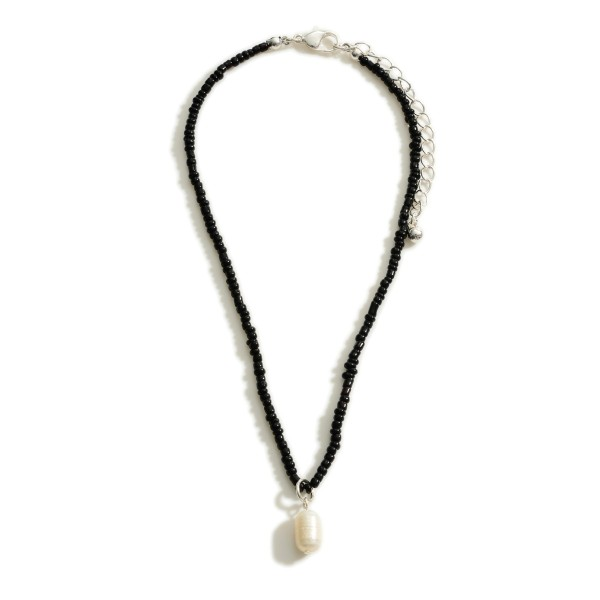 """Short Beaded Necklace Featuring Faux Pearl Pendant.   - Approximately 13"""" Long  - 3"""" Extender"""