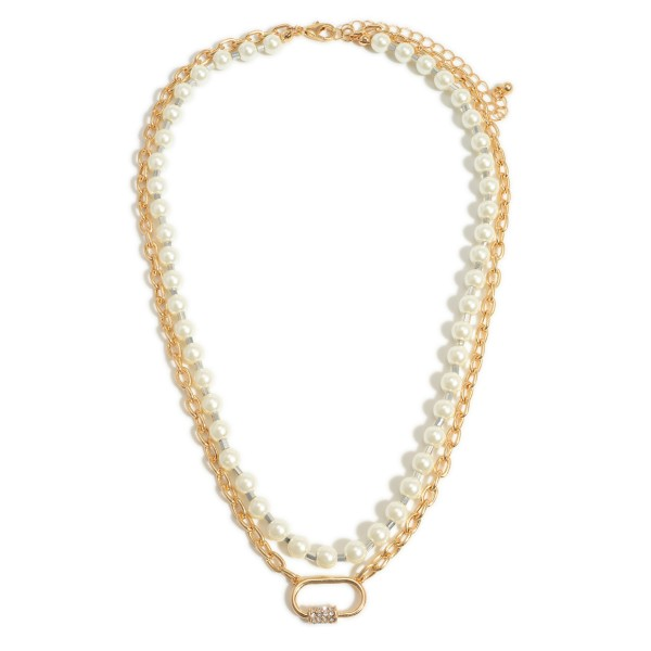 """Short Layered Necklace Featuring Gold Chain Link and Faux Pearl Accents.   - Approximately 18"""" Long"""