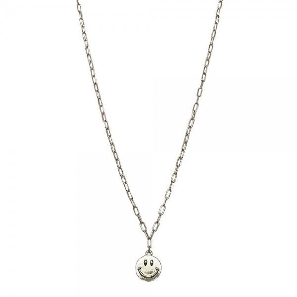 """Chain Link Necklace Featuring Smiley Face Pendant.   - Approximately 18"""" Long"""