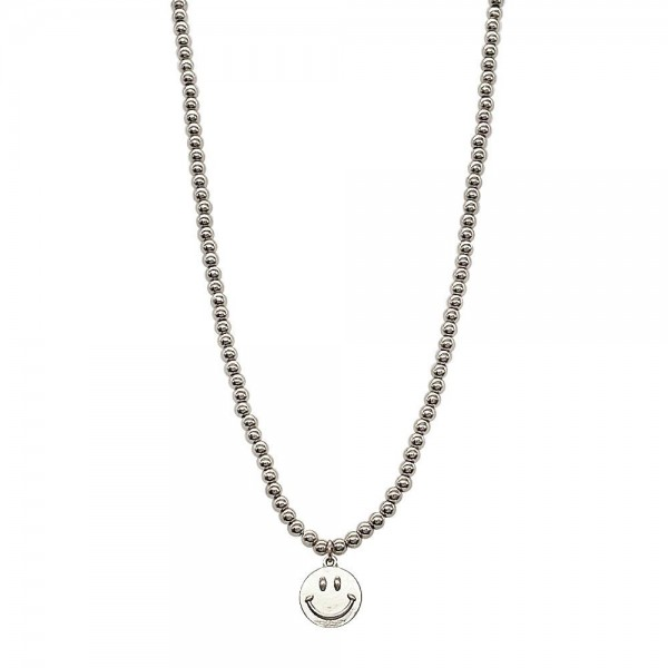 """Beaded Metal Necklace Featuring Smiley Face Pendant.   - Approximately 18"""" Long"""