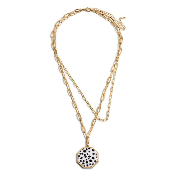 "Double-Stranded Metal Chain Necklace Featuring Animal Print Pendant.   - Approximately 24"" Long"