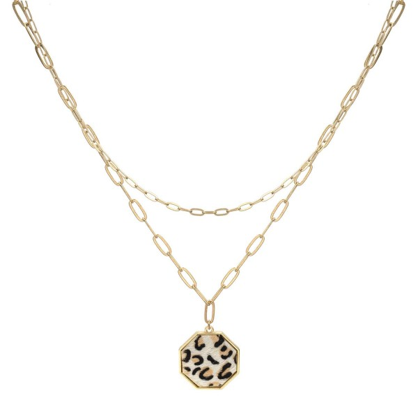 """Double-Stranded Metal Chain Necklace Featuring Animal Print Pendant.   - Approximately 24"""" Long"""