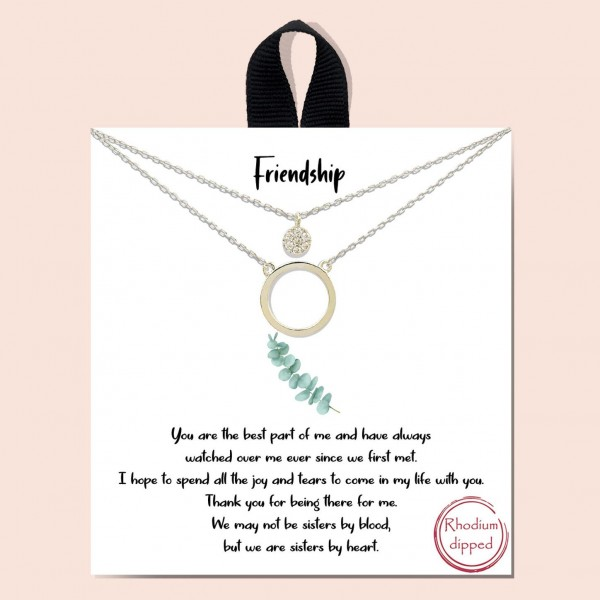 """Short Metal """"Friendship"""" Necklace Featuring Circle and Cubic Zirconia Pendants.   - Approximately 18"""" in Length  - Each Necklace Comes on a Card that Says """"You are the best part of me and have always watched over me ever since we first met. I hope to share all the joy and tears to come in my life with you. Thank you for being there for me. We may not be sisters by blood, but we are sisters by heart.""""  - Great for Gifts"""