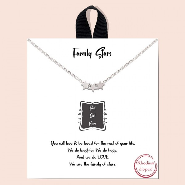 "Short Metal ""Family Stars"" Necklace Featuring Star Accents.   - Approximately 18"" in Length  - Each Necklace Comes on a Card that Says ""You will love & be loved for the rest of your life. We laugh. We hug. And we LOVE. We are the family of stars.""  - Great for Gifts"