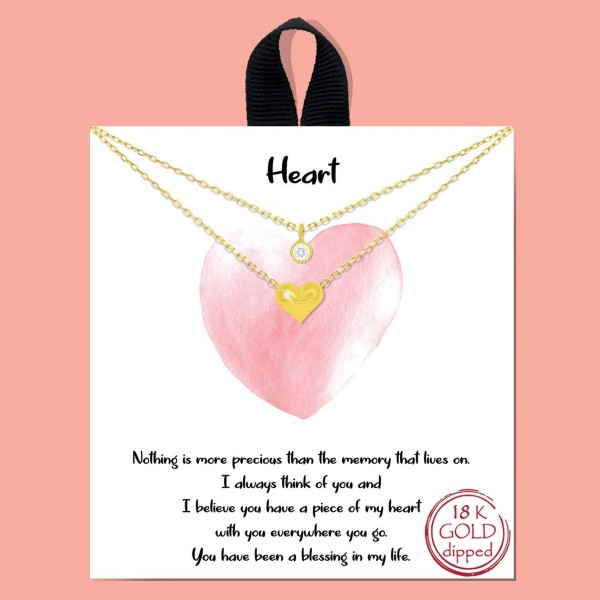 """Layered Metal """"Heart"""" Necklace Featuring Heart Pendant and Cubic Zirconia Detail.   - Approximately 18"""" in Length - Each Necklace Comes on a Card that Says """"Nothing is more precious than the memory that lives on. I always think of you and I believe you have a piece of my heart with you everywhere you go. You have been a blessing in my life.""""  - Great for Gifts"""