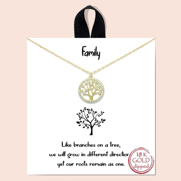 """Short Metal """"Family Tree"""" Necklace Featuring Tree Pendant.   - Approximately 18"""" in Length - Each Necklace Comes on a Card that Says """"Like branches on a tree, we will grow in different directions, yet our roots remain as one.""""  - Great for Gifts"""