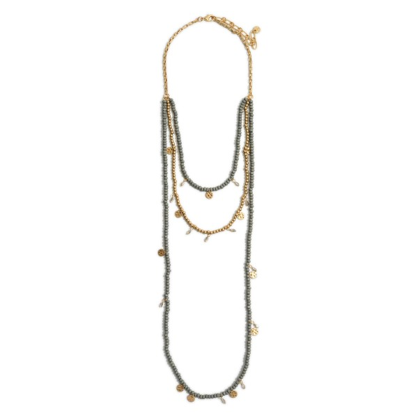 """Long Layered Beaded Necklace Featuring Gold Accents.   - Approximately 36"""" Long"""