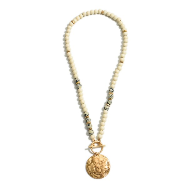 """Beaded Necklace Featuring Natural Stone Accents and Hammered Gold Pendant.   - Approximately 24"""" Long"""