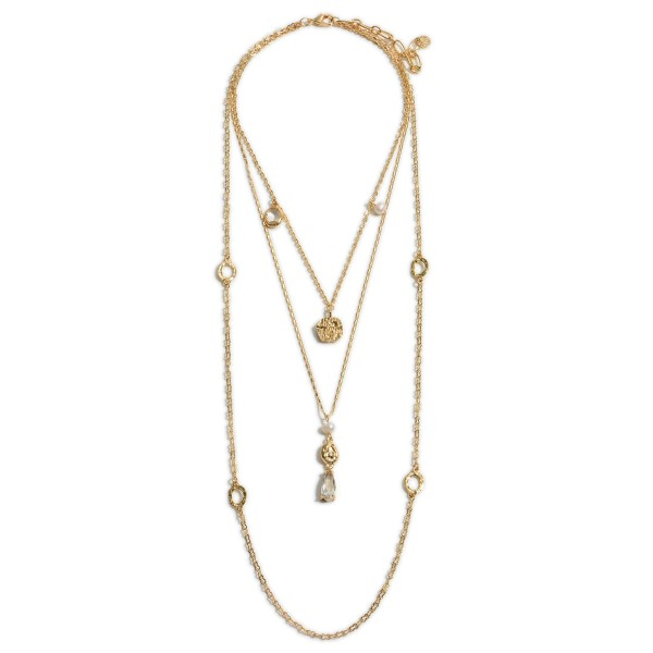 """Layered Gold Necklace Featuring Faux Pearl Accents and Crystal Details.   - Approximately 30"""" Long"""