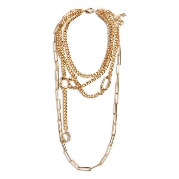 """Long Layered Metal Chain Necklace Featuring Crystal Accents.   - Approximately 30"""" Long"""