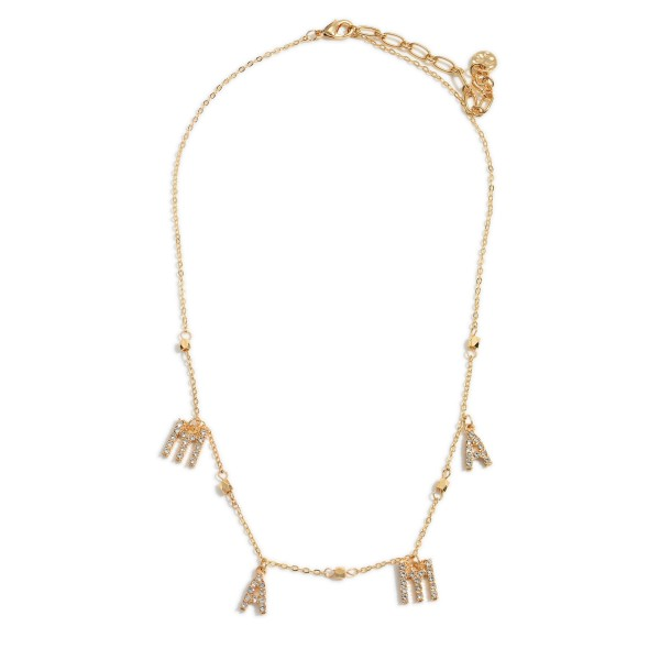 "Short Gold Necklace Featuring CZ Letter Pendants That Spell ""Mama"".   - Approximately 16"" Long"