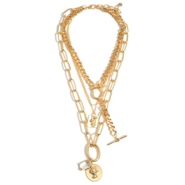 """Layered Chain Link Necklace Featuring Metal Pendants and Clear Crystal Details.   - Approximately 24"""" Long"""