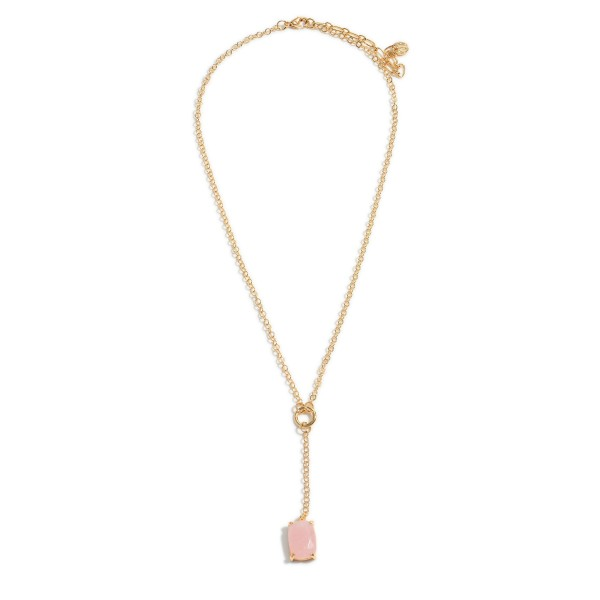 """Gold Y Necklace Featuring Natural Stone Pendant.   - Approximately 24"""" Long"""