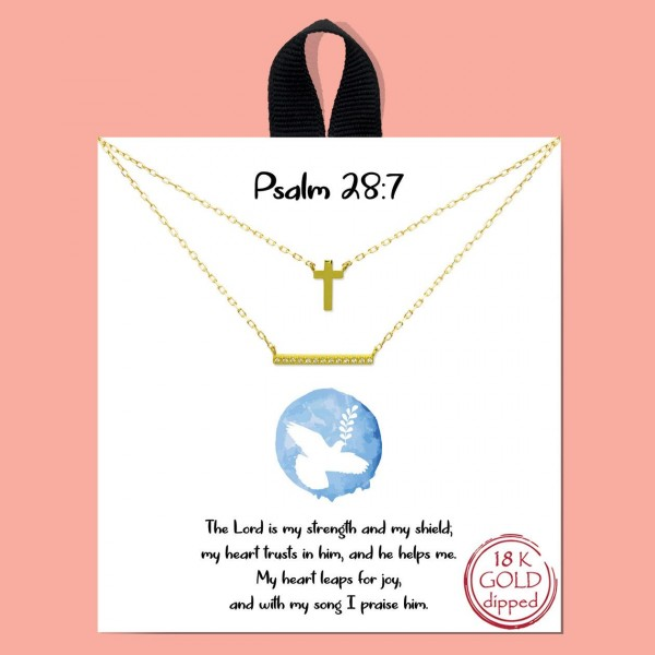 """Short Metal """"Psalm 28:7"""" Necklace Featuring Cross Pendant and Cubic Zirconia Accents.   - Approximately 18"""" Long - Each Necklace Comes on a Card that Says """"The Lord is my strength and my shield; my heart trusts in him, and he helps me. My heart leaps for joy, and with my song I praise him.""""  - 18K Gold Dipped"""