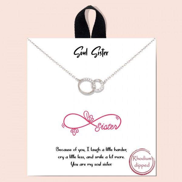 """Short Metal """"Soul Sister"""" Necklace Featuring Interlocked Circles Pendant.  - Approximately 18"""" in Length - Each Necklace Comes on a Card that Says """"Because of you, I laugh a little harder, cry a little less, and smile a lot more. You are my soul sister."""" - Great for Gifts"""