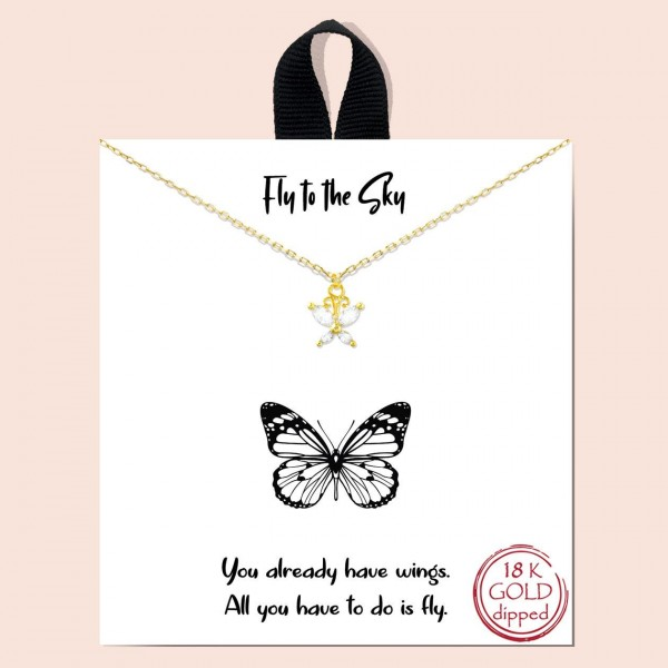 "Short Metal ""Fly to the Sky"" Necklace Featuring Butterfly Pendant.  - Approximately 18"" in Length - Each Necklace Comes on a Card that Says ""You already have wings. All you have to do is fly."" - Great for Gifts"