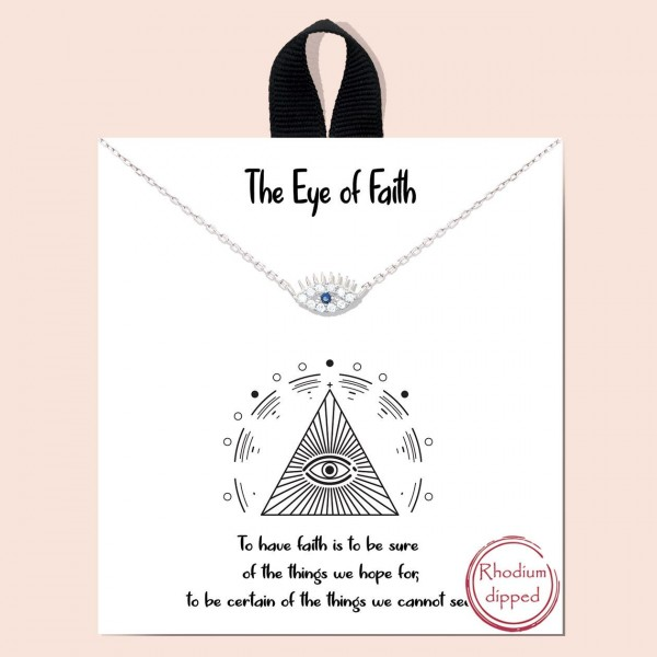 """Short Metal """"The Eye of Faith"""" Necklace Featuring Evil Eye Pendant.   - Approximately 18"""" Long - Each Necklace Comes on a Card that Says """"To have faith is to be sure of the things we hope for, to be certain of the things we cannot see.""""  - 18K Gold Dipped"""