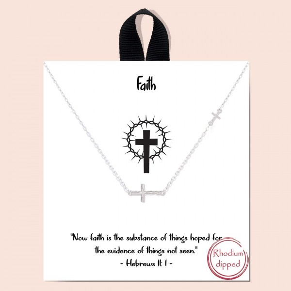 """Short Metal Faith Necklace Featuring Cross Pendant.   - Approximately 18"""" Long - Each Necklace Comes on a Card that Says """"Now faith is the substance of things hoped for, the evidence of things not seen.""""  - 18K Gold Dipped"""