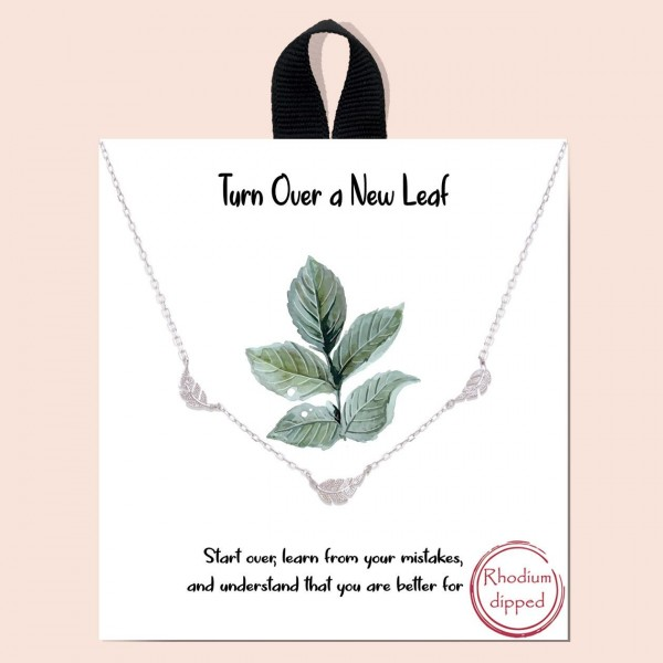 "Short Metal ""Turn Over a New Leaf"" Necklace Featuring Leaf Accents.   - Approximately 18"" in Length - Each Necklace Comes on a Card that Says ""Start over, learn from your mistakes, and understand that you are better for it."" - Great for Gifts"