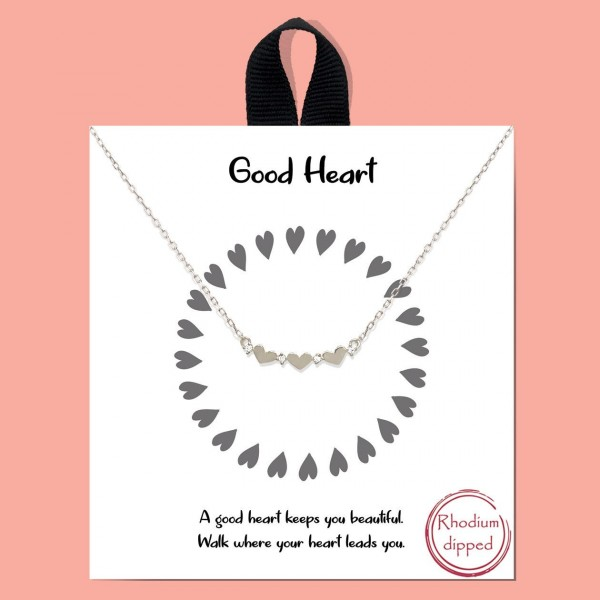 "Short Metal ""Good Heart"" Necklace Featuring Heart Accents.   - Approximately 18"" Long - Each Necklace Comes on a Card that Says ""A good heart keeps you beautiful. Walk where your heart leads you.""  - 18K Gold Dipped"