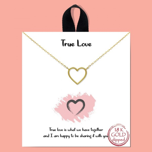 "Short Metal ""True Love"" Necklace Featuring Heart Pendant.  - Approximately 18"" in Length - Each Necklace Comes on a Card that Says ""True love is what we have together and I am happy to be sharing it with you."" - Great for Gifts"