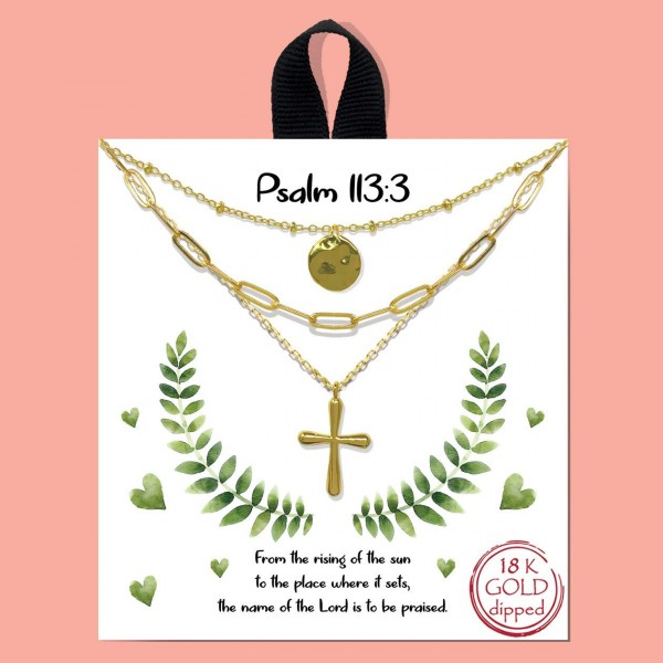 """Short Metal """"Psalm 113:3"""" Layered Necklace Featuring Cross Pendant.  - Approximately 18"""" in Length - Each Necklace Comes on a Card that Says """"From the rising of the sun to the place where it sets, the name of the Lord is to be promised."""" - Great for Gifts"""