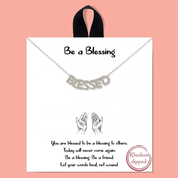 """Short Metal Be a Blessing Necklace Featuring Letter Beads that Say """"Blessed"""".   - Approximately 18"""" Long - Each Necklace Comes on a Card that Says """"You are a blessing to others. Today will never come again. Be a blessing. Be a friend. Let your words heal, not wound.""""  - 18K Gold Dipped"""