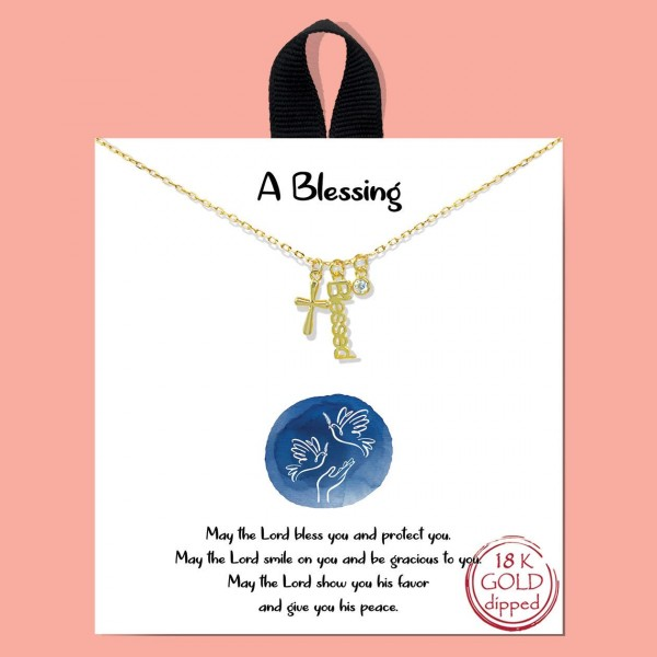 """Short Metal """"A Blessing"""" Necklace Featuring Cross Pendant and Cubic Zirconia Details.   - Approximately 18"""" Long - Each Necklace Comes on a Card that Says """"May the Lord bless you and protect you. May the Lord smile on you and be gracious to you, May the Lord show you his favor and give you peace.""""  - 18K Gold Dipped"""