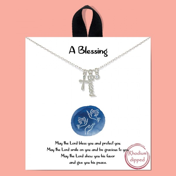 "Short Metal ""A Blessing"" Necklace Featuring Cross Pendant and Cubic Zirconia Details.   - Approximately 18"" Long - Each Necklace Comes on a Card that Says ""May the Lord bless you and protect you. May the Lord smile on you and be gracious to you, May the Lord show you his favor and give you peace.""  - 18K Gold Dipped"
