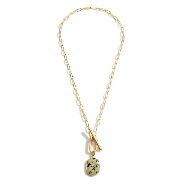 Wholesale chain Link Necklace Natural Stone Pendant Toggle Closure Long