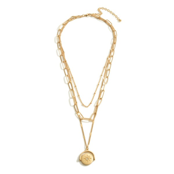 """Gold Chain Layered Necklace featuring a Starburst Pendant with CZ Accents.  - Approximately 10"""" in Length - Pendant Approximately .75"""" in Diameter"""