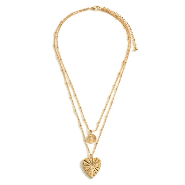 """Layered Chain Link Necklace Featuring a Heart Pendant.   - Approximately 8"""" in Length - Extender 3"""" in Length"""