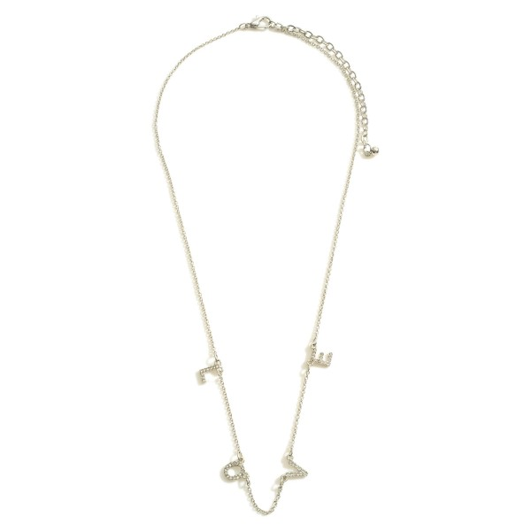 """Love Necklace featuring CZ Accents.  - Chain 16"""" in Length - Extender 3"""" in Length"""