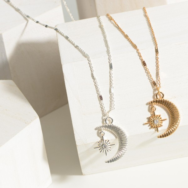 """Short Chain Necklace featuring a Crescent Moon Pendant and Star Charm.  - Chain 16"""" in Length - 3"""" Extender"""