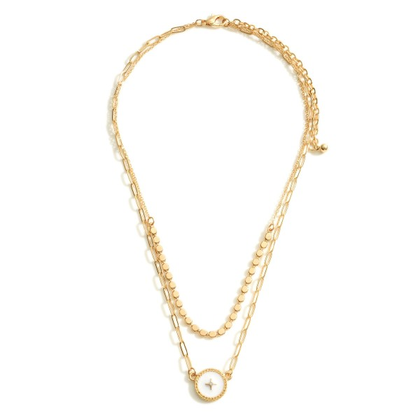 """Layered Chain Link Necklace Featuring Beaded Details and a Starburst Pendant.   - Approximately 7"""" in Length - Extender 3"""" in Length"""