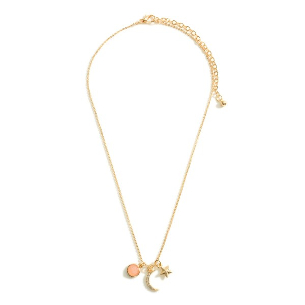 """Short Chain Necklace featuring Crescent Moon and Star Charms.  - Chain 16"""" in Length - 3"""" Extender"""