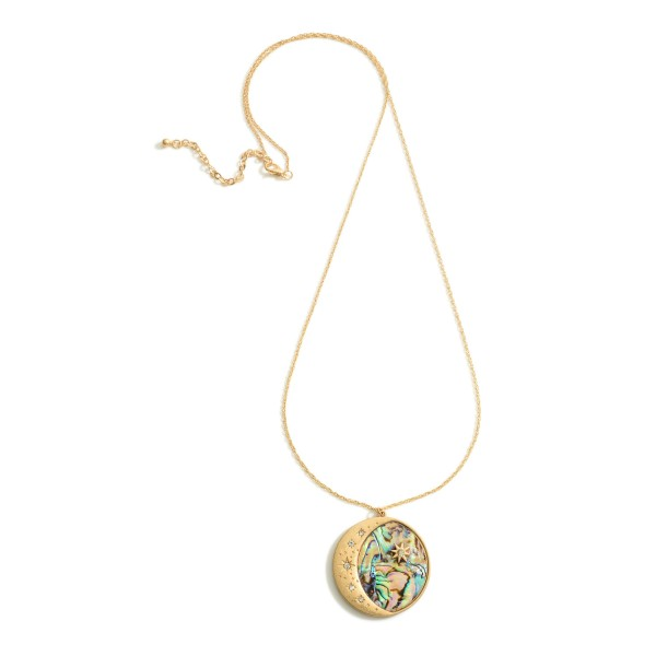 """Long Gold Necklace featuring a Crescent Moon Pendant with CZ Accents.  - Approximately 16"""" in Length - Pendant Approximately 1.5"""" in Diameter"""