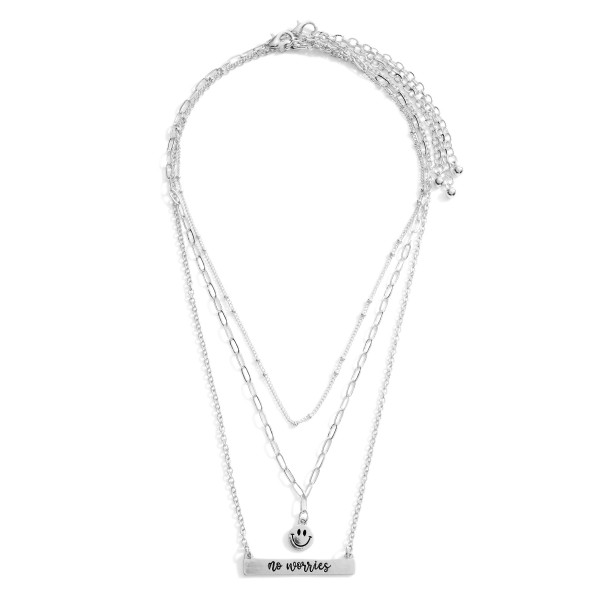 """Set of Three Chain Necklaces featuring Smiley Face Details and a Pendant that Says """"No Worries"""".  - Necklace Lengths 14"""", 16"""", and 18"""""""