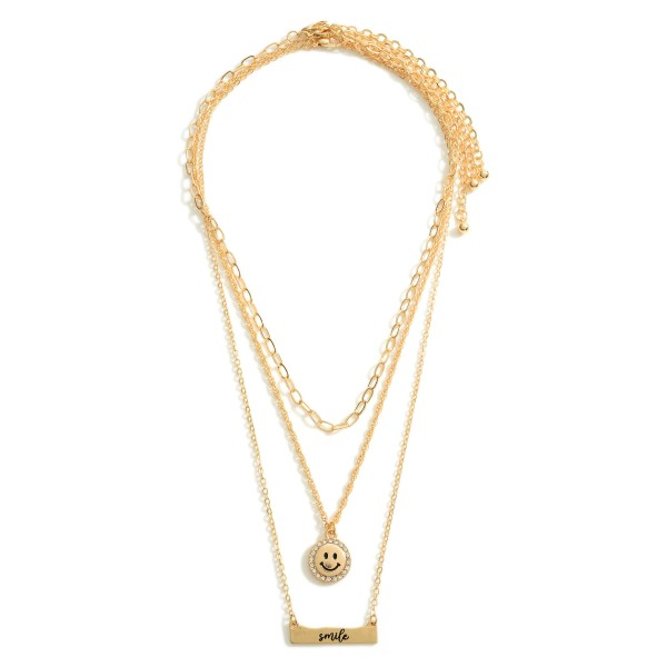 """Set of Three Chain Necklaces featuring Smiley Face Details and a Pendant that Says """"Smile"""".  - Necklace Lengths 14"""", 16"""", and 18"""""""