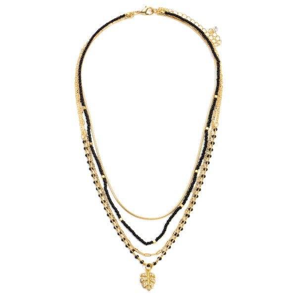 """Gold Layered Beaded Necklace Featuring a CZ Leaf Pendant.  - Chain Approximately 18"""" in Length"""