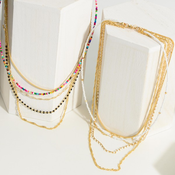 """Gold Layered Chain Necklace featuring Beaded Accents.  - Approximately 9"""" in Length - Extender 3"""" in Length"""