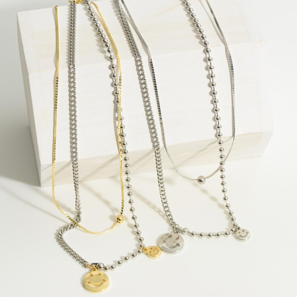 """Two Tone Smiley Face Layered Chain Necklace.  - Approximately 9"""" in Length - Extender 3"""" in Length"""