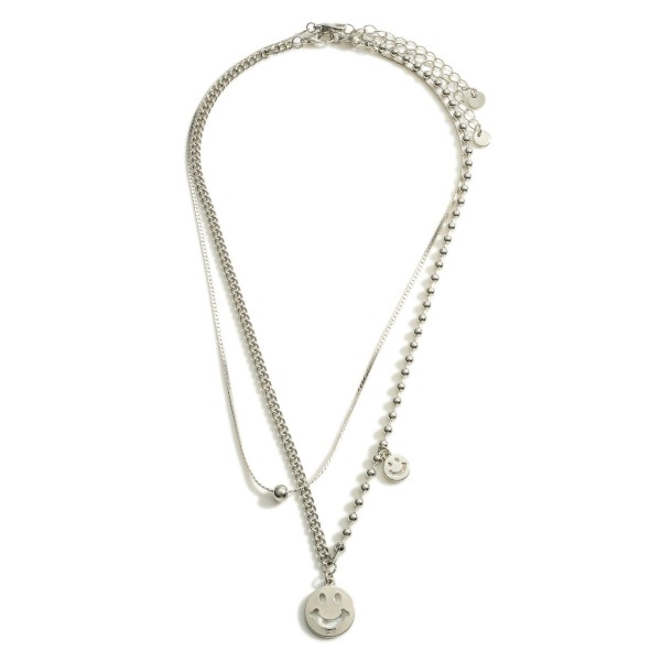 """Silver Smiley Face Layered Chain Necklace.  - Approximately 9"""" in Length - Extender 3"""" in Length"""
