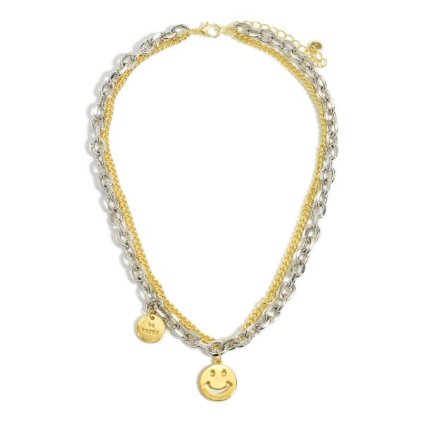 """Mixed Metal Layered Chain Link Necklace featuring a Smiley Face Charm.   - Approximately 8"""" in Length"""