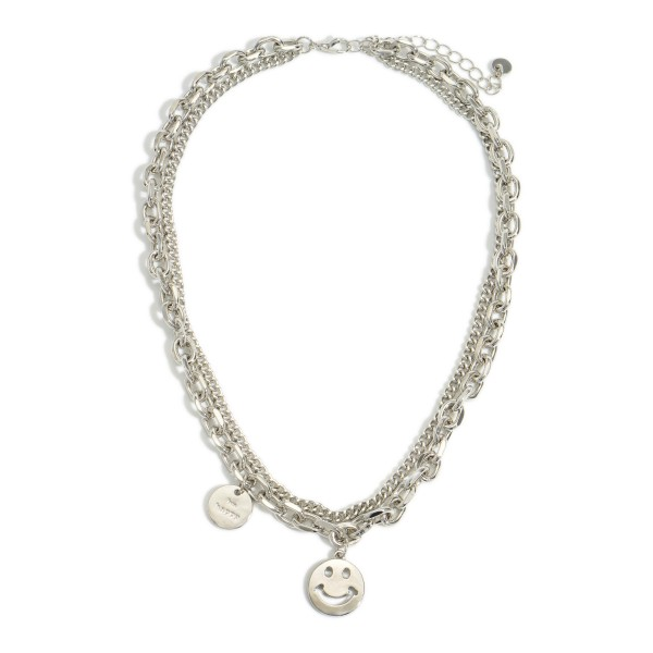 """Silver Layered Chain Link Necklace featuring a Smiley Face Charm.   - Approximately 8"""" in Length"""